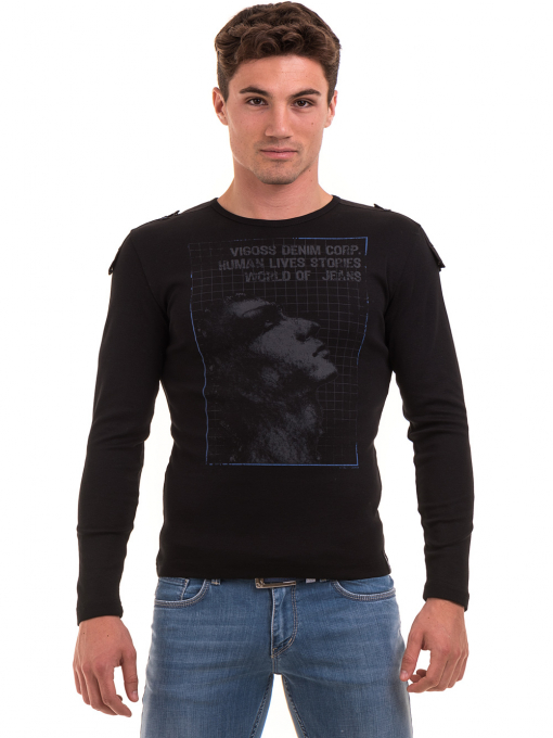 Мъжка спортна блуза с щампа VIGOSS 683 - черна