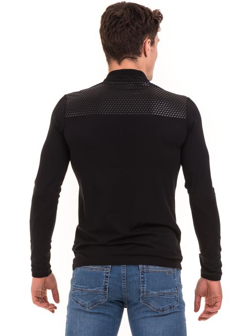 Мъжка спортна блуза с яка XINT 008 - черна B