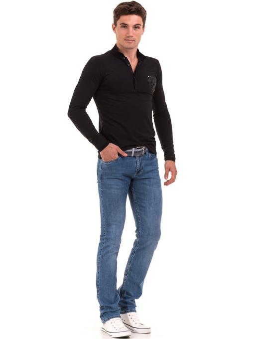 Мъжка спортна блуза с яка XINT 008 - черна C