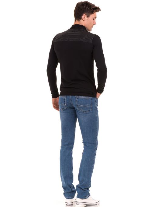Мъжка спортна блуза с яка XINT 008 - черна E
