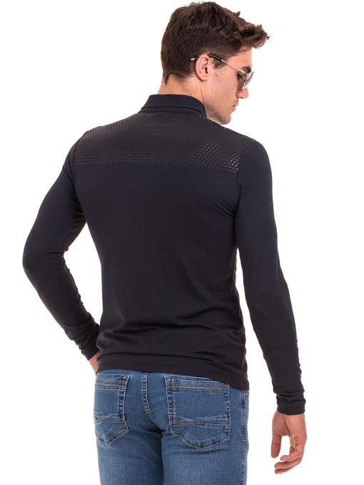 Мъжка спортна блуза с яка XINT 008 - тъмно синя B