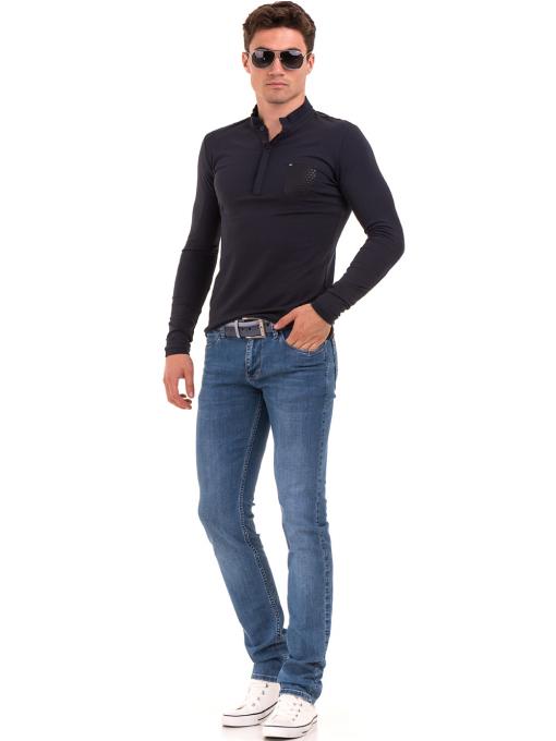 Мъжка спортна блуза с яка XINT 008 - тъмно синя C