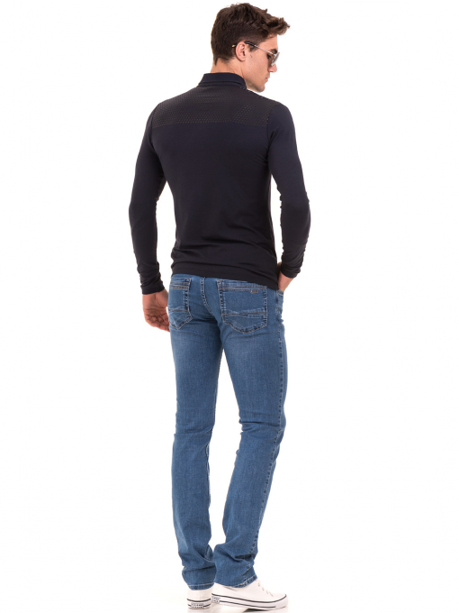 Мъжка спортна блуза с яка XINT 008 - тъмно синя E