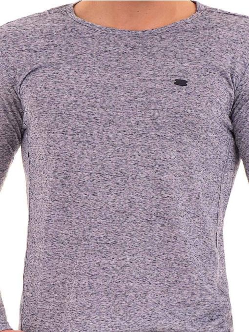 Мъжка блуза с дълъг ръкав XINT 016 - синя D