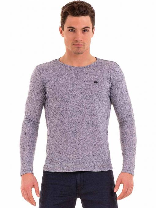 Мъжка блуза с дълъг ръкав XINT 016 - синя