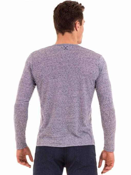 Мъжка блуза с дълъг ръкав XINT 016 - синя B