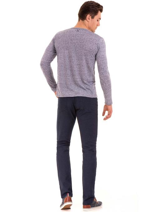 Мъжка блуза с дълъг ръкав XINT 016 - синя E