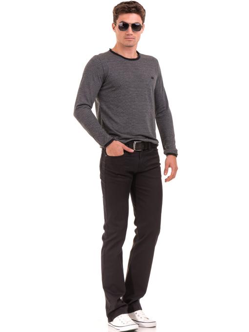Класически мъжки панталон  LACARINO с колан 3071 - тъмно сив C1