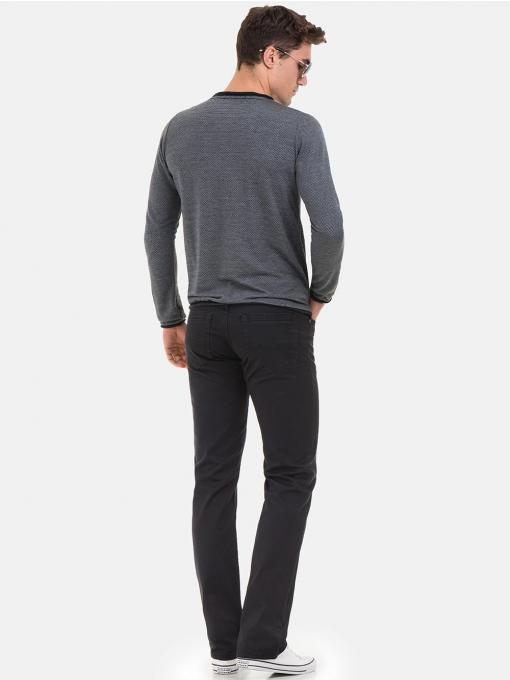 Мъжка блуза с обло деколте XINT 017 - сива