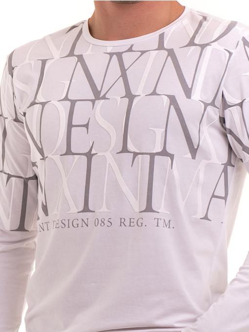 Мъжка блуза с щампа XINT 028 - бяла D