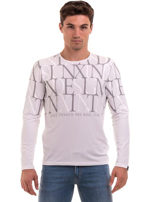 Мъжка блуза с щампа XINT 028 - бяла