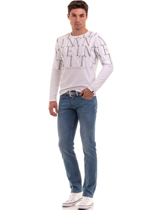 Мъжка блуза с щампа XINT 028 - бяла C