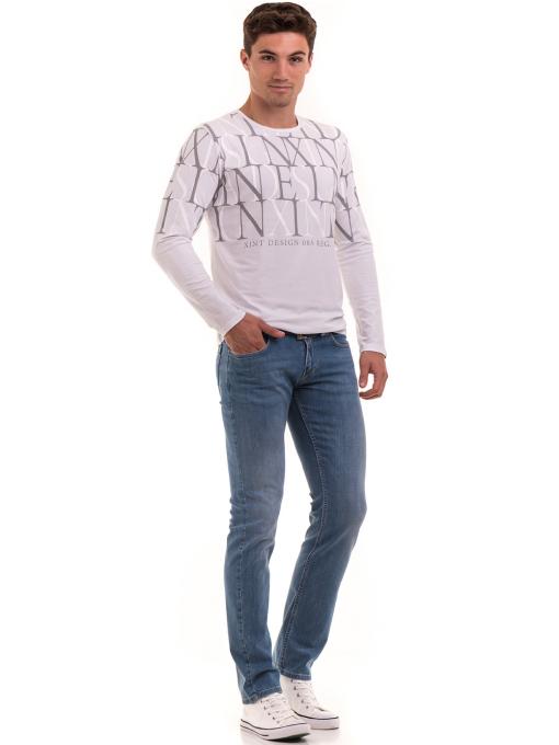 Мъжка блуза с щампа XINT 028 - бяла C1