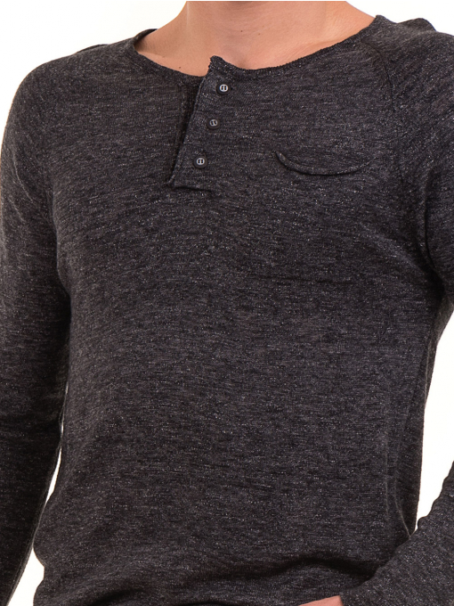 Мъжка блуза фино плетиво XINT 073 - черна D