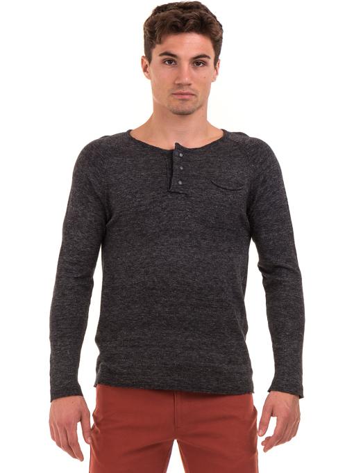 Мъжка блуза фино плетиво XINT 073 - черна
