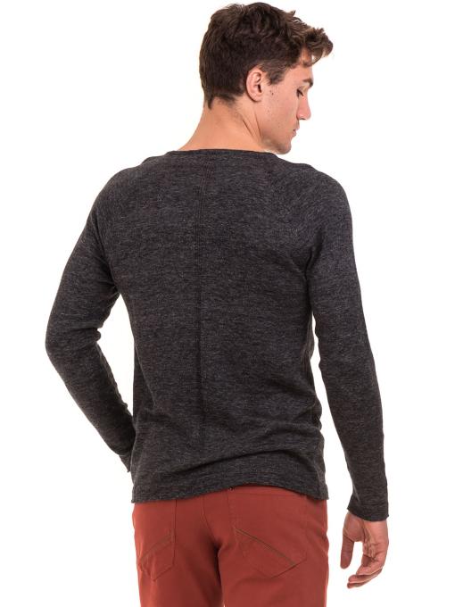 Мъжка блуза фино плетиво XINT 073 - черна B