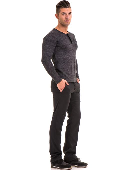 Мъжка блуза фино плетиво XINT 073 - черна C1