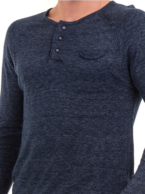 Мъжка блуза фино плетиво XINT 073 - тъмно синя D