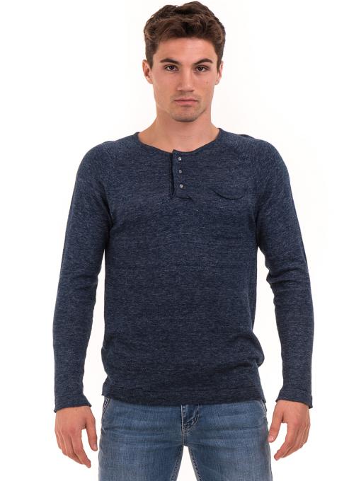 Мъжка блуза фино плетиво XINT 073 - тъмно синя