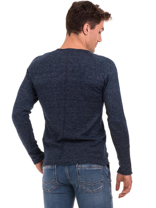 Мъжка блуза фино плетиво XINT 073 - тъмно синя B