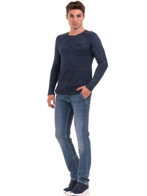 Мъжка блуза фино плетиво XINT 073 - тъмно синя C