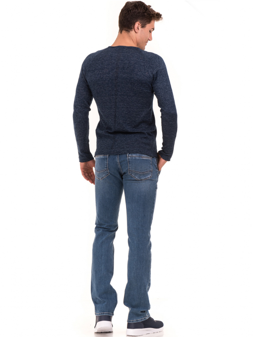 Мъжка блуза фино плетиво XINT 073 - тъмно синя E