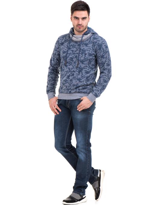 Мъжки спортен пуловер с качулка XINT 079 - син C