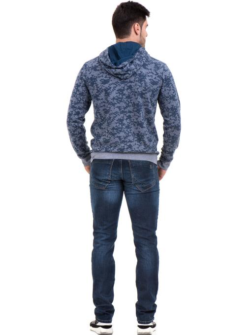 Мъжки спортен пуловер с качулка XINT 079 - син E