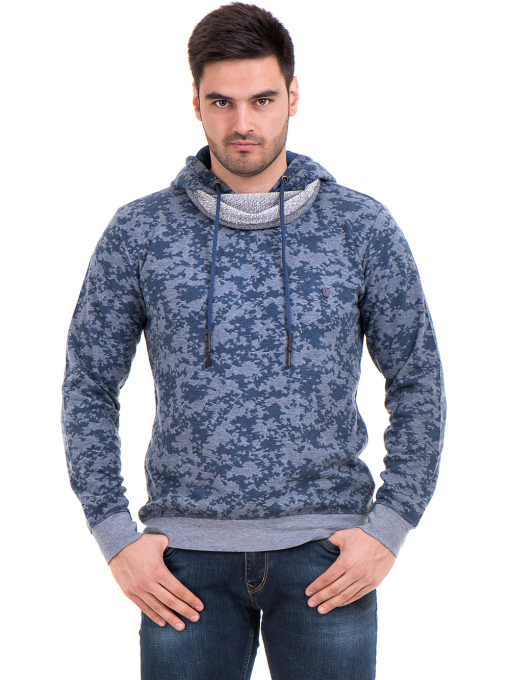 Мъжки спортен пуловер с качулка XINT 079 - син