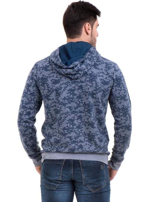 Мъжки спортен пуловер с качулка XINT 079 - син B