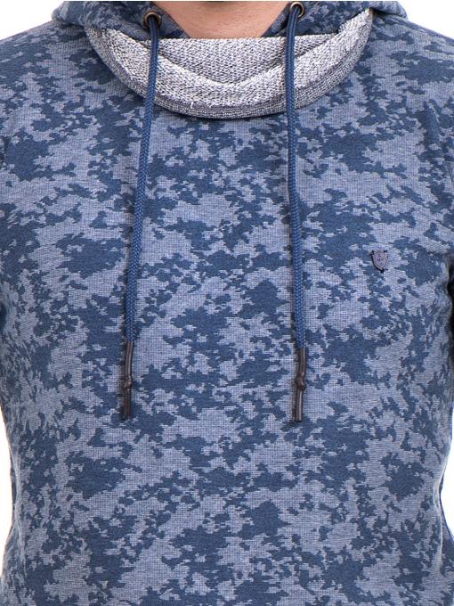 Мъжки спортен пуловер с качулка XINT 079 - син D
