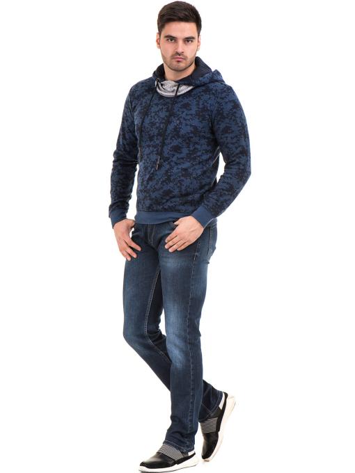 Мъжки спортен пуловер с качулка XINT 079 - тъмно син C