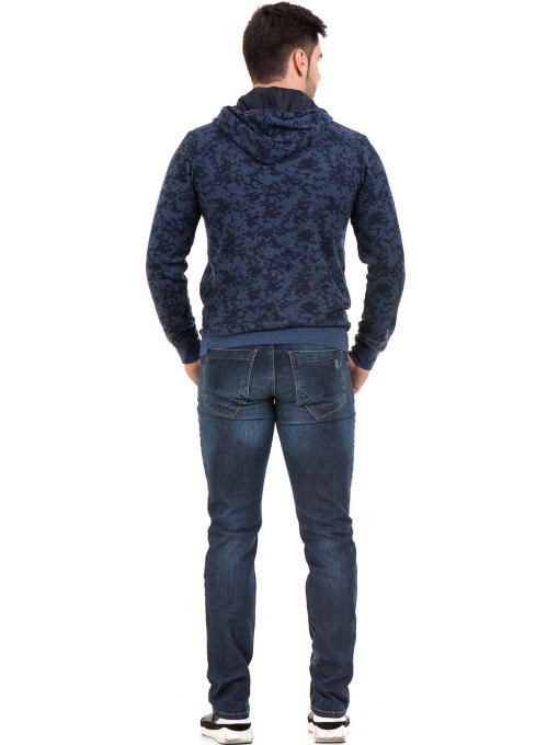 Мъжки спортен пуловер с качулка XINT 079 - тъмно син E