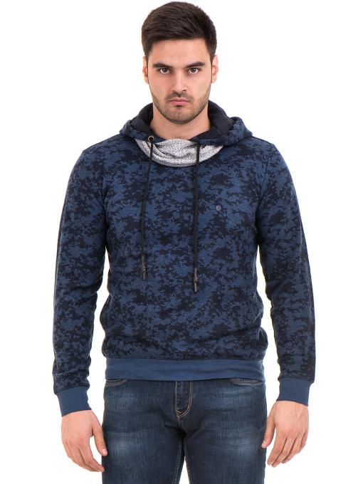 Мъжки спортен пуловер с качулка XINT 079 - тъмно син