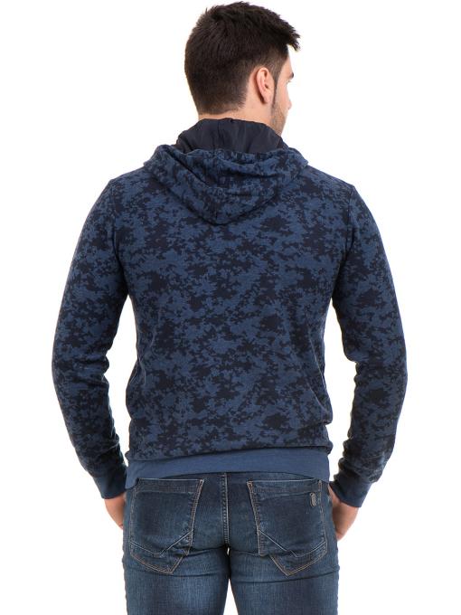 Мъжки спортен пуловер с качулка XINT 079 - тъмно син B