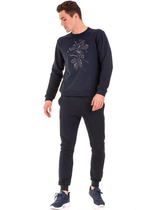 Мъжка памучна блуза с дълъг ръкав XINT 102 - тъмно синя C