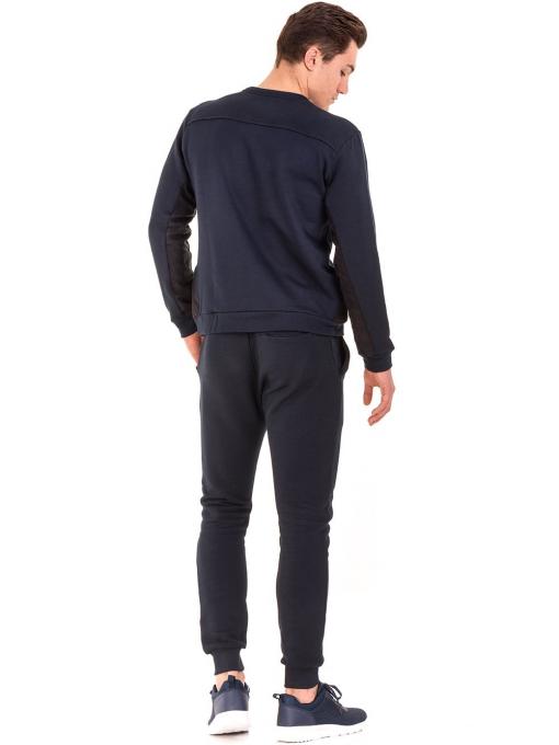 Мъжка памучна блуза с дълъг ръкав XINT 102 - тъмно синя E
