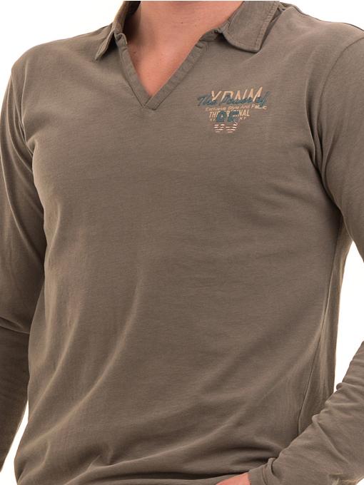 Мъжка спортна блуза XINT 344 - цвят каки D