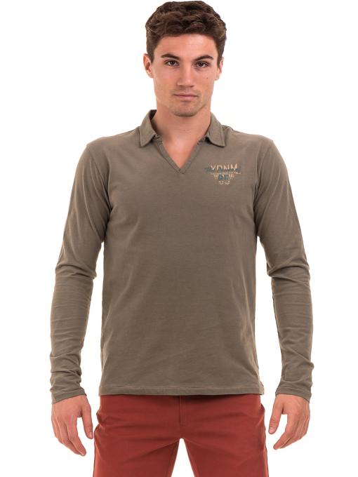 Мъжка спортна блуза XINT 344 - цвят каки