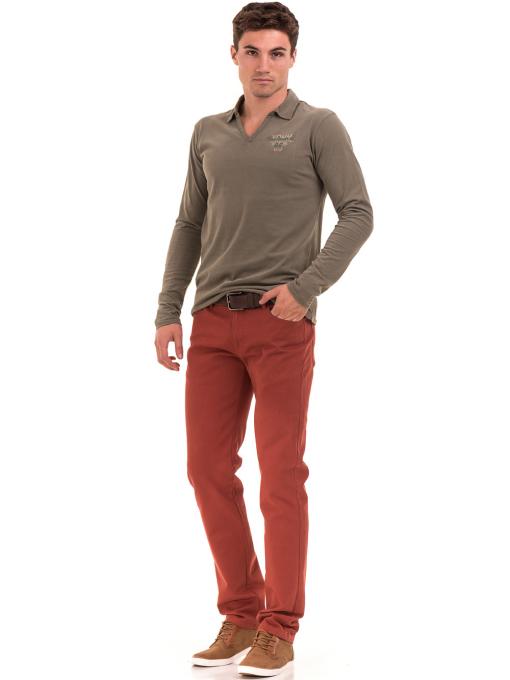 Мъжка спортна блуза XINT 344 - цвят каки C