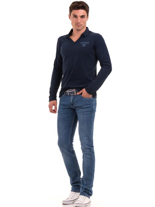 Мъжка спортна блуза XINT 344 - тъмно синя C