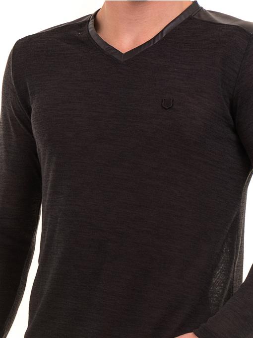 Мъжка блуза с V-образно деколте XINT 630 - черна D