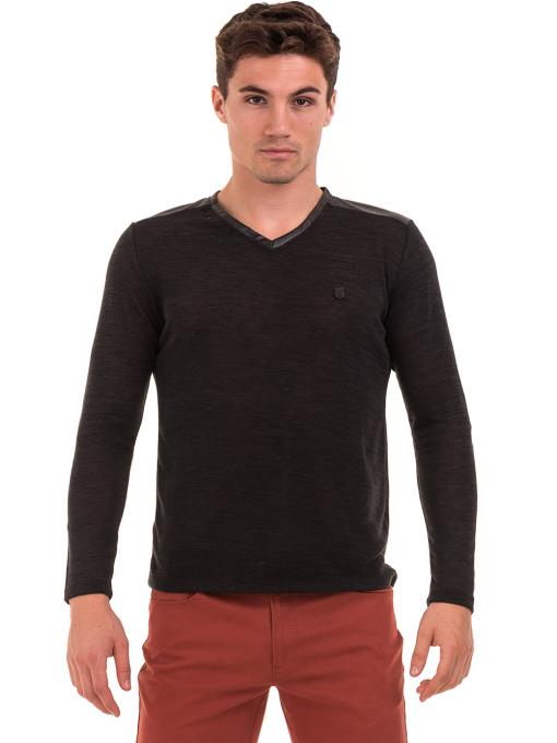 Мъжка блуза с V-образно деколте XINT 630 - черна