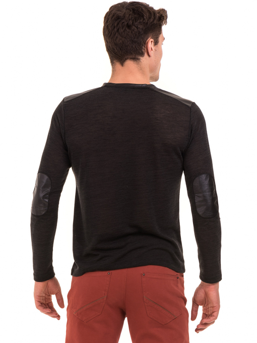 Мъжка блуза с V-образно деколте XINT 630 - черна B