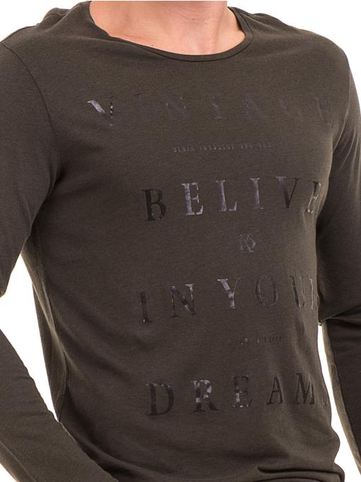 Мъжка блуза с щампа-надпис XINT 634 - цвят каки D