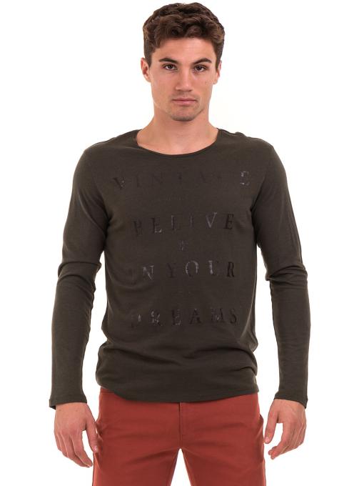 Мъжка блуза с щампа-надпис XINT 634 - цвят каки