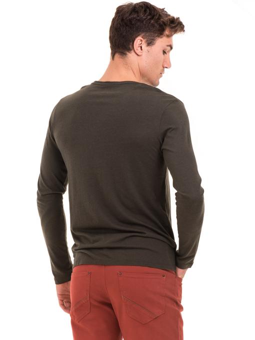 Мъжка блуза с щампа-надпис XINT 634 - цвят каки B