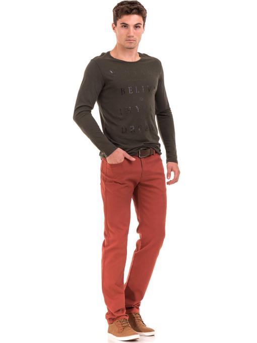 Мъжка блуза с щампа-надпис XINT 634 - цвят каки C