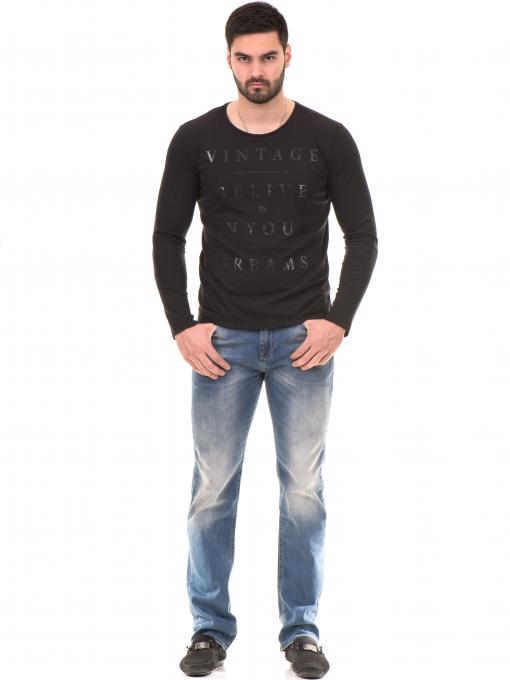 Мъжка блуза с щампа-надпис XINT 634 - черна C