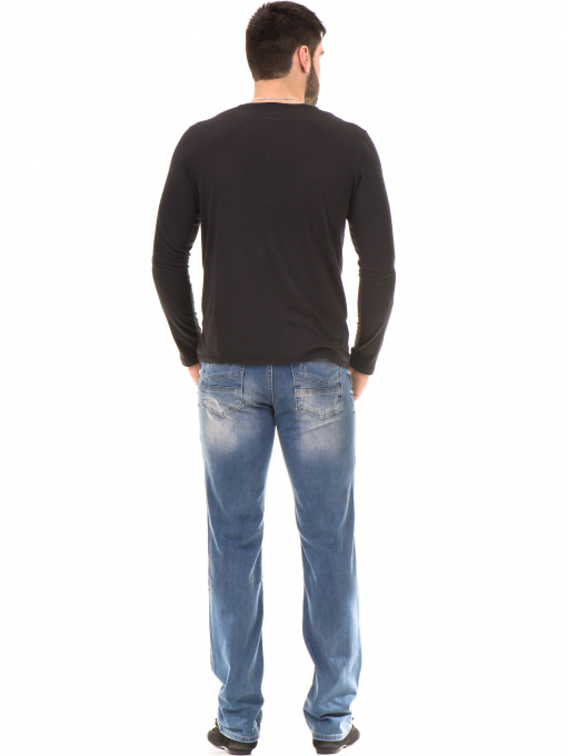 Мъжка блуза с щампа-надпис XINT 634 - черна E